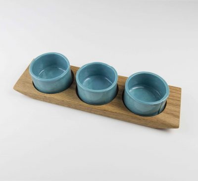 Food Serving Ramekin Rack Made in USA MADE in Mendocino 3 Food safe Ramekins Red Oak Board With Aqua Fresca Ramekins