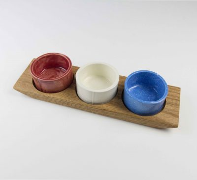Food Serving Ramekin Rack Made in USA MADE in Mendocino 3 Food safe Ramekins Red Oak Board With Red White and Blue Ramekins
