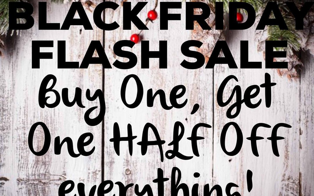 Come by for our best sale of the year!  From 10-2 on Friday November 27thg 2020,  buy one item and get a second item (of equal or lesser value) at 50% off!!  Start making your list!!    Please note:  we can only have four shoppers at once, so please limit your party, so everyone can enjoy!!  You have to be in line for the store by 2pm to get the discount.   ALL COVID PROTOCOLS WILL BE FOLLOWED — wear a mask, social distance, sanitize your hands,  be patient, and have fun!! Thank you!