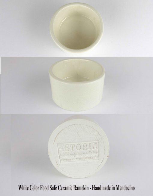 USA Made in USA White Food Safe Ceramic Ramekin - Handmade in Mendocino - USA MADE IN USA