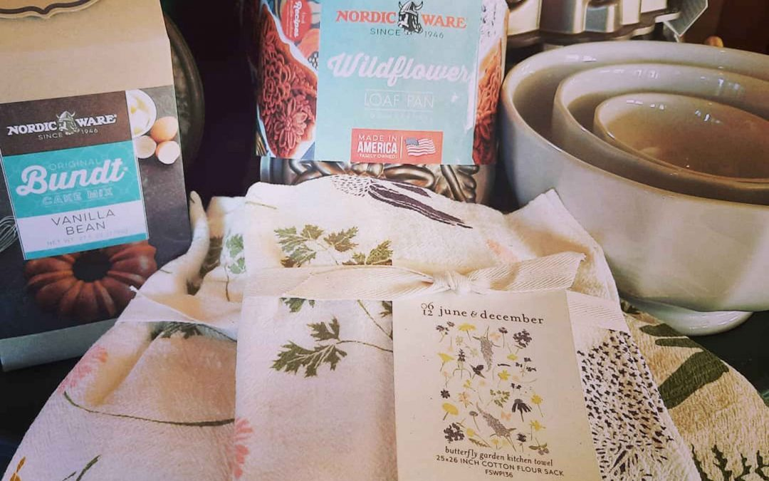 Shopping for Bakeware in Mendocino Village?  Check out our new floral baking tins for Bunt cakes  We also have cake mixes!  Pair with a wildflower towel for a lovely gift!       All of these items are made in the USA!