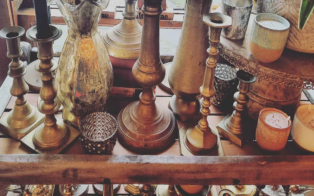 Lots of fun new solid brass pieces are here!  Shopping in Mendocino for cool boho Vintage items  Including: Brass Candlesticks and little vases