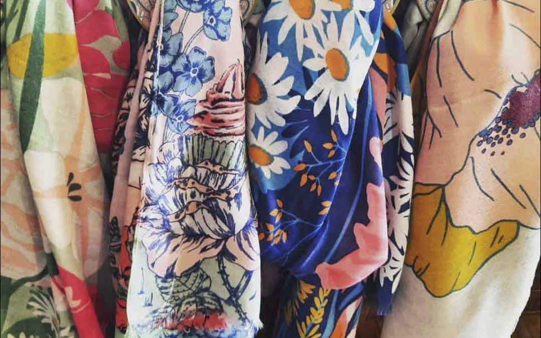 New lightweight scarves for the spring in whimsical florals  These scarves are whimsical with colorful florals ( British florals ).  Great for walking around town or the bluffs this time of year in Mendocino.