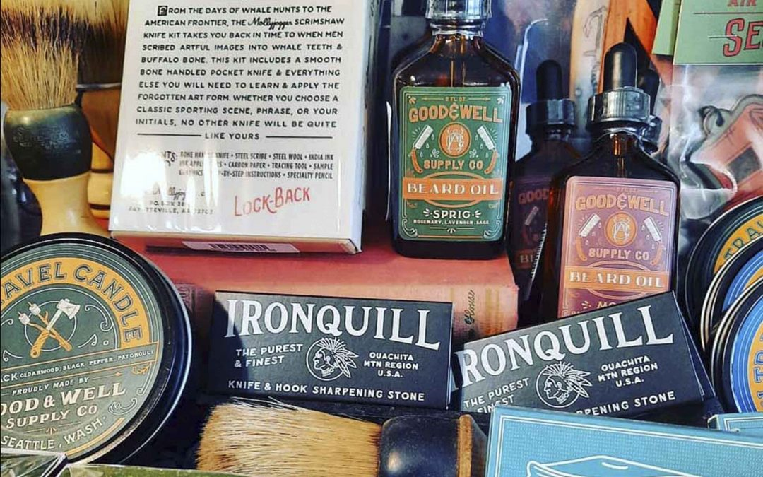 """Restocked on our little 'man' gift corner.  We have restocked our popular scrimshaw knife kits,  our fingerling fish pocket knives, beardoil  and a few more things for our """"Mancorner"""""""