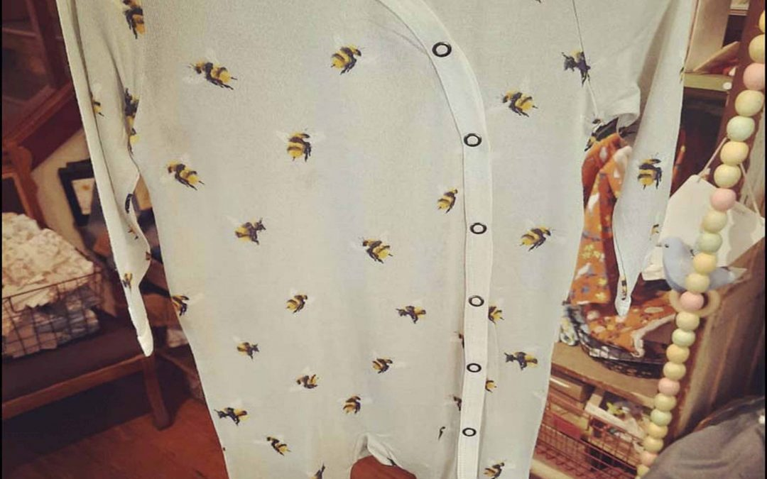 Super cute new patterns are here from Milkbarn Kids Baby Clothes! -including this bumblebee one!!  Get this bumblebee baby romper  and lots more baby clothes and accessories  at our location in Mendocino, or contact us here!