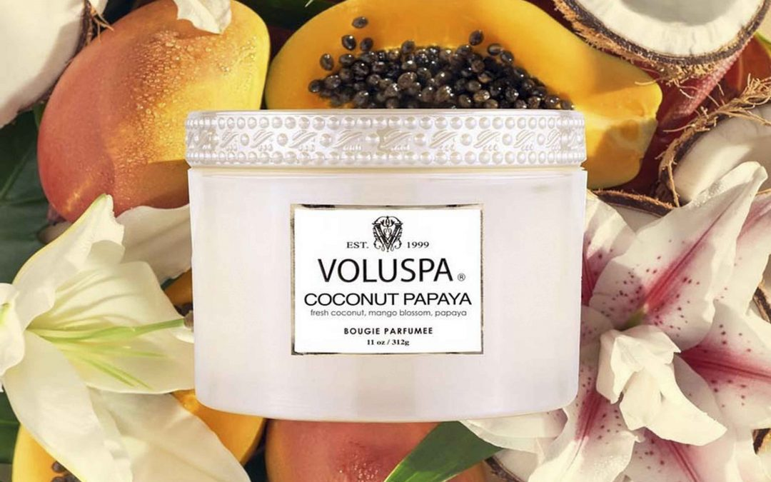 Shopping in Mendocino Village for Scented Candles - New fragrances from Voluspa Candles are here including this Summery Coconut Papaya