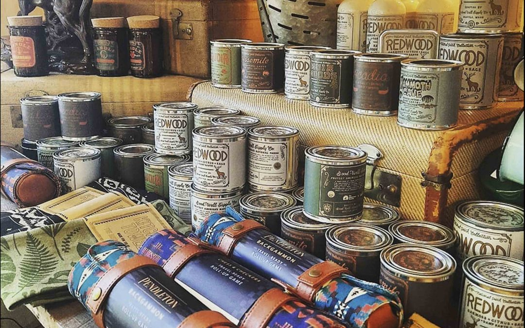 Shopping in Mendocino for Pendleton Traveling Games and Wood Wicked Scented Candles - Pendleton Games Woodwicked Candles - Outdoorsy Gifts - Camping Gifts - Gifts for Dad